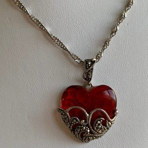 Sterling 925 Filigree Marcasite Red Glass Heart